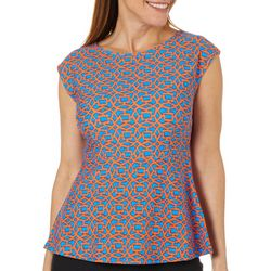 Aryeh Womens Trellis Print Sleeveless Peplum Top