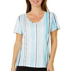 Thomas & Olivia Womens Striped Short Sleeve Top