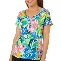Thomas & Olivia Womens Embellished Floral Top