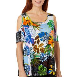 Thomas & Olivia Womens Tropical Print Cold Shoulder Top