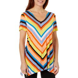 Thomas & Olivia Womens Diagonal Stripe Top