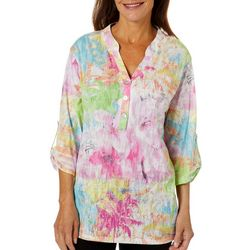 Thomas & Olivia Womens Printed Burnout Tunic Top
