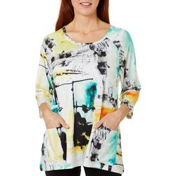 Thomas & Olivia Womens Graphic Print Round Neck Top