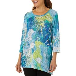 Thomas & Olivia Womens Floral Watercolor Round Neck Top