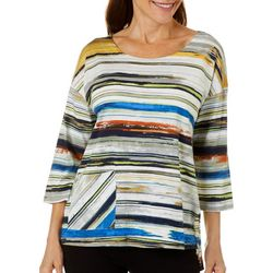 Thomas & Olivia Womens Striped Front Pocket Round Neck Top