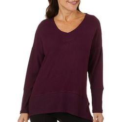Thomas & Olivia Womens Solid Knit Tunic Top