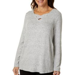 Thomas & Olivia Womens Solid Knit Cross Neckline Tunic Top