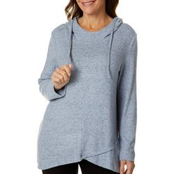 Thomas & Olivia Womens Solid Hooded Tunic Top