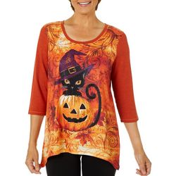 Thomas & Olivia Womens Mixed Witch Cat Embellished Top