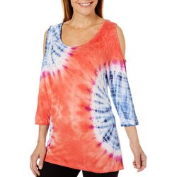 Thomas & Olivia Womens Embellished Tie Dye Cold Shoulder Top