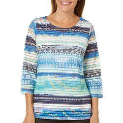 Thomas & Olivia Womens Embellished Textured Stripe Top