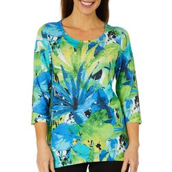 Thomas & Olivia Womens Embellished Palm Floral Print Top