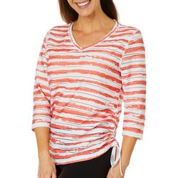 Thomas & Olivia Womens Scrunched Side Textured Striped Top