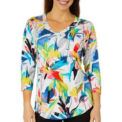 Thomas & Olivia Womens Embellished Leaf Print Top