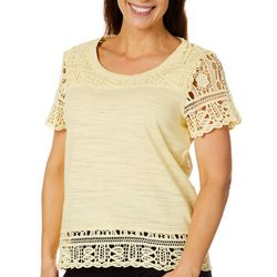 Sportelle Womens Heathered Crochet Top