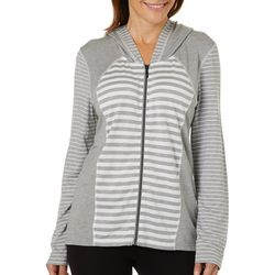 Thomas & Olivia Womens Striped Hooded Light Weight Jacket