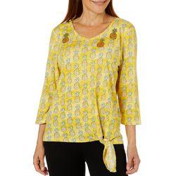 Thomas & Olivia Womens Sequin Pineapple Print Side Tie Top