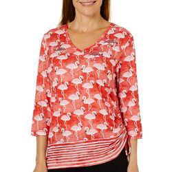 Sportelle Womens Sequin Flamingo Print Side Rouched Top