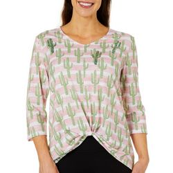 Thomas & Olivia Womens Sequin Cactus Print Front Knot Top