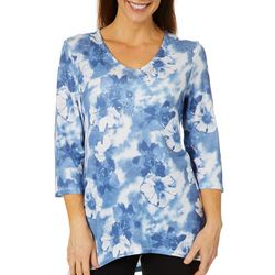 Thomas & Olivia Womens Embellished Floral Print Tunic Top