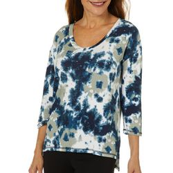 Thomas & Olivia Womens Embellished Tie Dye High-Low Top