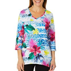 Thomas & Olivia Womens Embellished Mixed Floral Top
