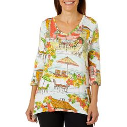 Thomas & Olivia Womens Tropical Beach Print V-Neck Top