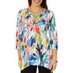 Thomas & Olivia Womens Painted Flowers Caged Keyhole Top