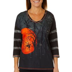 Thomas & Olivia Womens Embellished Spooky Spider Top