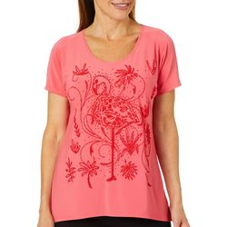 Savanah Blues Womens Embellished Flamingo Top