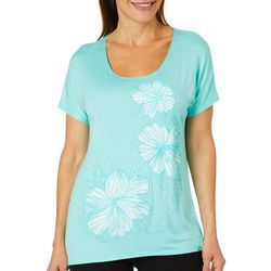 Savanah Blues Womens Embellished Tropical Floral Top