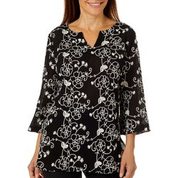 Lauren Michelle Womens Gauze Floral Embroidered Top