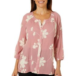 Lauren Michelle Womens Gauze Embroidered Button Down Top