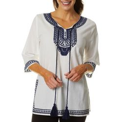 Cabana Cay Womens Solid Embroidered Tunic Top