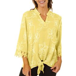 Cabana Cay Womens Solid Floral Detail Tunic Top