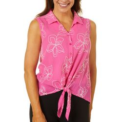 Cabana Cay Womens Floral Embroidered Tie Front Top