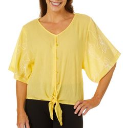 Cabana Cay Womens Floral Embroidered Sleeve Tie Front Top