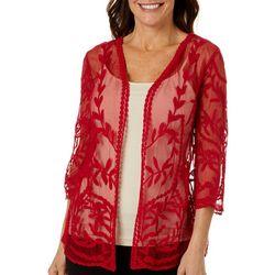 Hailey Lyn Womens Solid Crochet Bolero Shrug