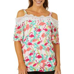 Hailey Lyn Womens Tropical Flamingo Cold Shoulder Top