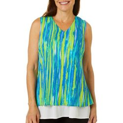 Hailey Lyn Womens Sandy Stripe Layered Sleeveless V-Neck Top