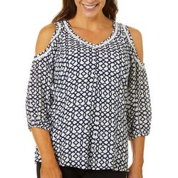 Hailey Lyn Womens Geometric Print Gauze Cold Shoulder Top
