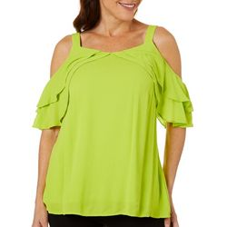 Hailey Lyn Womens Solid Ruffle Detail Cold Shoulder Top