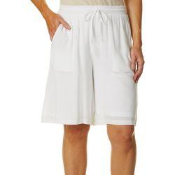 Hailey Lyn Womens Solid Drawstring Bermuda Shorts