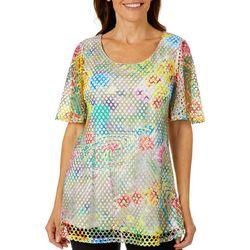 Hailey Lyn Womens Mesh Abstract Print Short Sleeve Top