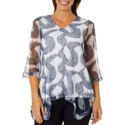 Hailey Lyn Womens Mesh Chambray Sharkbite Hem Top