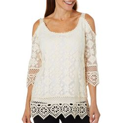 Hailey Lyn Womens Lace Cold Shoulder Top