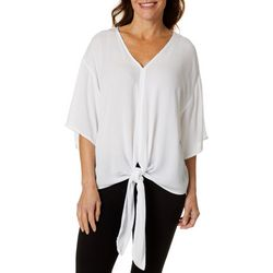 Hailey Lyn Womens Tie Front Flutter Sleeve Top