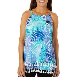 Hailey Lyn Womens Gauze Tassel Trim Palm Tank Top