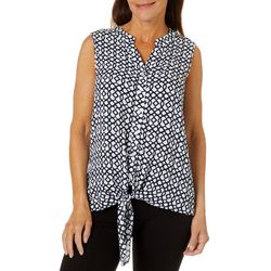 Hailey Lyn Womens Geo Print Tie Front Sleeveless Top