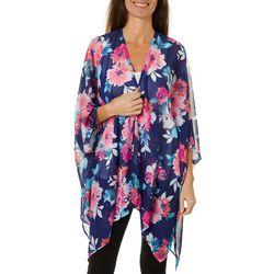 Hailey Lyn Womens Floral Print Kimono Top